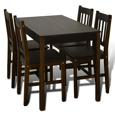 Anself 5 Teilige Essgruppen Esstisch aus Holz mit 4 Holzstuhlen Braun