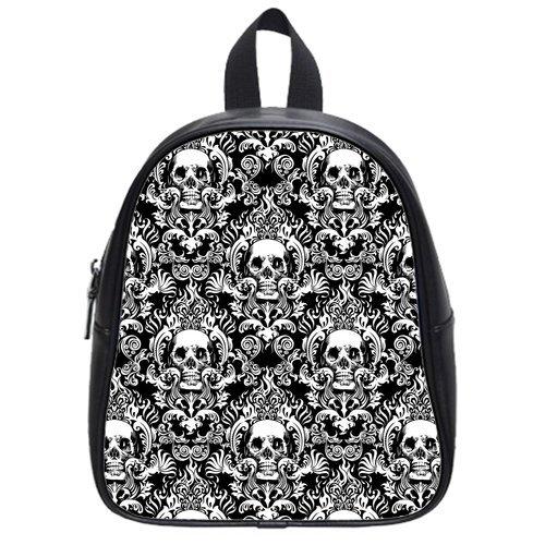 Atnee Creative Skull Damasks Design Black Backpack School Bag Satchel Size S
