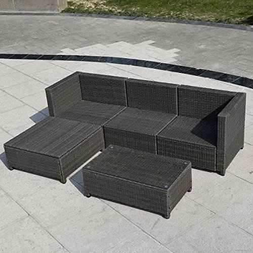 5pc Outdoor Patio Sofa Set Sectional Furniture Pe Wicker Rattan Deck Couch B