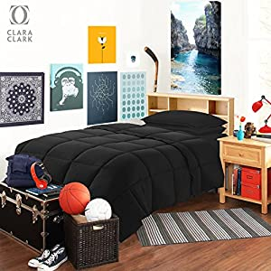 Twin XL Bed In A Bag 6pcs Bedding - Comforter Set, Black, - College School Dorm bedroom Value Essential Bundle, Includes Flat and Fitted Sheets, Pillowcase, Pillow Sham and Laundry Bag