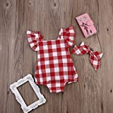 Newborn Infant Baby Girls Clothes Plaids Checks Romper Jumpsuit Bodysuit Outfits (6-12 Months, Red)