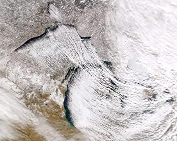 NASA satellite photo showing the Great Lakes lake effect.