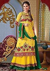 Sunflower Yellow Lehenga Kameez Semi Stitched Material