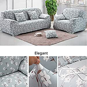 yazi blue white floral washable elastic sofa