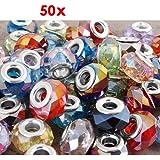 50X 14x9mm Kristall Bouton Glasperlen Spacer Charms Neu