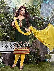 V-Kart Women's Cotton Unstitched Dress Material (Vkart_306_Green_Free Size)