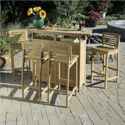 Home Style 5660-9982 Bali Hai 5-Piece Outdoor Bar Cabinet and Stools, Teak Finish