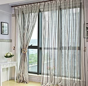 ElleWeiDeco Modern Beige Brown and White Stripe Sheer Window Curtain ...