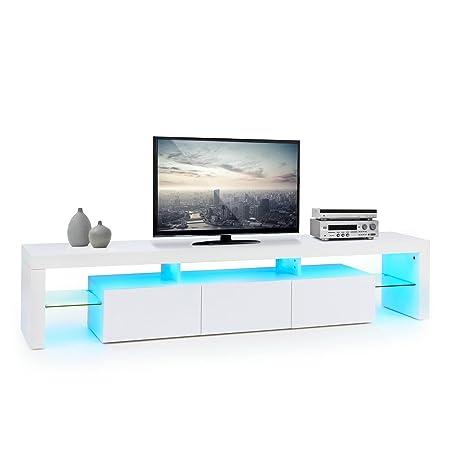 oneConcept Quentin meuble TV (interrupteur marche/arrêt de l'éclairage LED sur la télécommande, volume des tiroirs : 13 litres chacun, imitation bois) - blanc