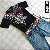 mts157 和柄 ポロシャツ 家紋 桜 刺繍 鳳凰柄【3色】メンズ 半袖 Tシャツ 半袖Tシャツ ラメ
