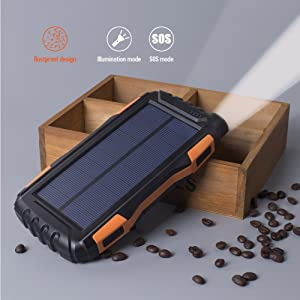 25000mAh Portable Solar Power Bank Dual USB Output Battery Bank with Strong LED Light, Elzle Outdoor Solar Charger Phone External Battery Shockproof Dustproof for iPhone Series, Smart Phone, More (Color: Black Orange)