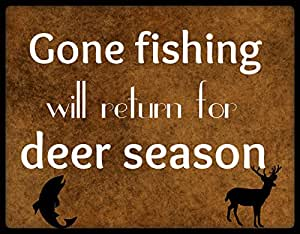 """Amazon.com: Wood Sign Rustic Primitive """"Gone Fishing"""" Funny Quote Man"""