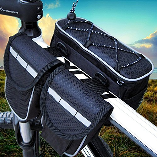 GkGk 4 in 1 Saddle Bike Bag Multi-function Organizer Pannier Tube Frame with Rainproof Cover for Mountain Bike Cycling Road Bicycle Seat Packs for Phones ,Bottle of Water ,Keys ,Wallet (Black) (Cycling Bags compare prices)