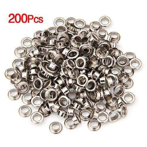 """SODIAL(R) 200 Metal OEILLETS RONDS/oeillets/Rivets de couleur argent 8mm 0.32"""" Nouveau"""