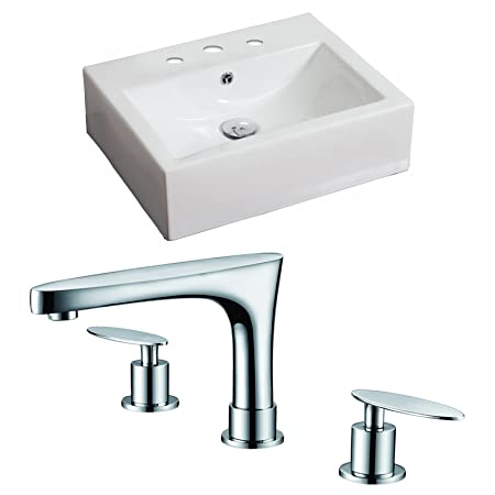 "American Imaginations AI-15086 Rectangle Vessel Set with CUPC Faucet, 20.5"" x 16"", White"