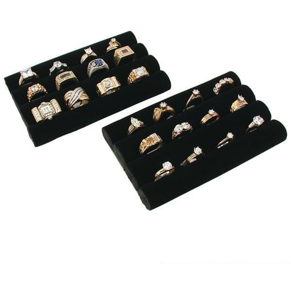 2 black velvet ring trays jewelry pad showcase displays 5