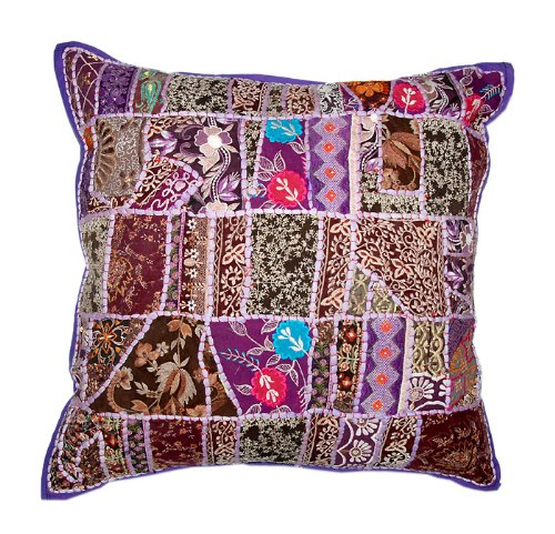 Marvellous Home Decor Art Rajrang Embroidery Work & Patch Work Cotton Purpal Color Cushion Cover/ Throw Pillow Cover Comforter Sets India Size: 24 X 24 Inches (2 Pcs)