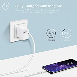 Huntkey USB Type C Charger, 27W 9V/3A, PD 3.0, QC4.0 Fast Wall Charger for MacBook Air/12, iPad Pro 11/12.9, Samsung s10/s9/s8/s7/C9/note9/note8 ect, with C-C Cable (Color: White)