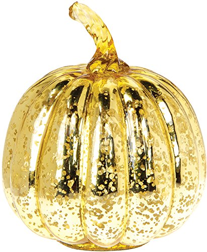 Luna Bazaar Pumpkin Mercury Glass Figurine (7-Inch, Gold)