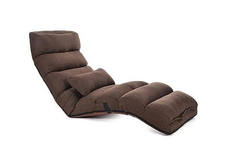 Sofá plegable, Silla de piso plegable Silla de juego de Tatami Beanbag, Almacenaje conveniente, Ajuste multi-ángulo , coffee , 175cm