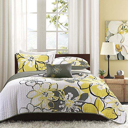 Mizone Allison 3 Piece Coverlet Set, Twin/Twin X-Large, Yellow/Grey (Mackenzie Quilt compare prices)