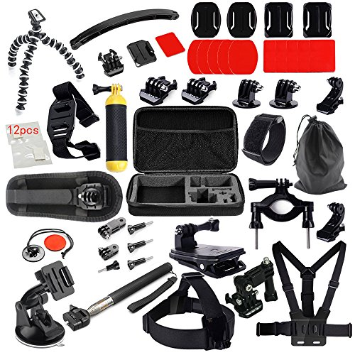 MCOCEAN Accessory Kit for GoPro Cameras (Silver Black, 38-Pieces)
