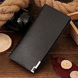 Gtt Mens Brown Leather Bifold Wallet/Purse Fold Long Wallet Multi Pocket Card Holder