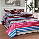 Soni Traders Pink & Brown Designer Pure Cotton Double Bedsheet With Pillow Cover- Bedsheet- 90 Inches X 90 Inches...