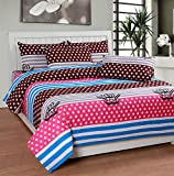 Soni Traders Pink & Brown Designer Pure Cotton Double Bedsheet With Pillow Cover- Bedsheet- 90 Inches X 90 Inches; Pillow Cover- 16 Inches X 27 Inches