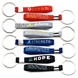 (12-Pack) Inspirational Quote Keychains - Dream, Achieve, Strength, Hope - Wholesale Bulk Pack of 1 Dozen Silicone Rubber Key Rings with Motivational Quotes - Party Favors Gifts for Adults Men Women (Color: Multi-colored)
