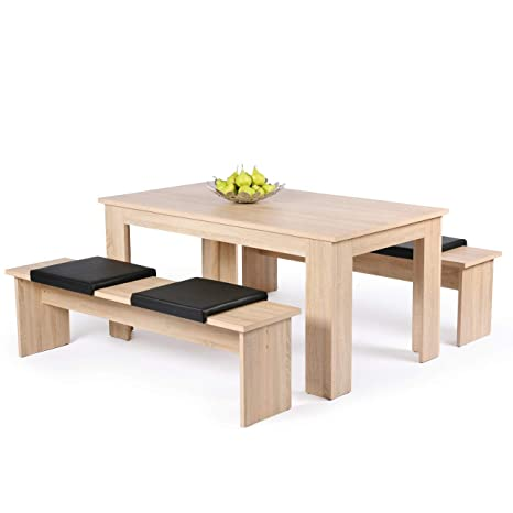 Esszimmer-Garnitur Essgruppe 3-teiliges Komplettset mit 2 Bänken und 1 Tisch in verschiedenen Farben (Sonoma Eiche)