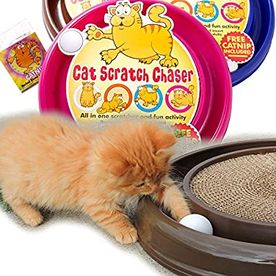 PetzTrendz Cat Scratch Chaser - Scratcher Plus Toy Combined - 3 Colours Available + FREE Catnip