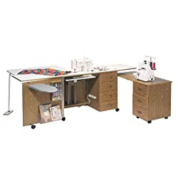 Sewingrite Maximum Storage Limited Space Sewing Desk With Electric Lift Rustic Maple