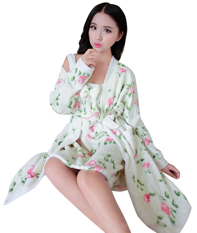 AIVTALK Damen Mädchen Nachtwäsche Set Nachtkleid Morgenmantel 2 in 1 Superweich Flanell – Blumen Pfingstrose Pattern bestellen