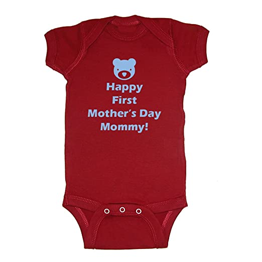 Festive Threads Happy First Mother's Day Mommy! (Lt Blue Bear) Baby Bodysuit