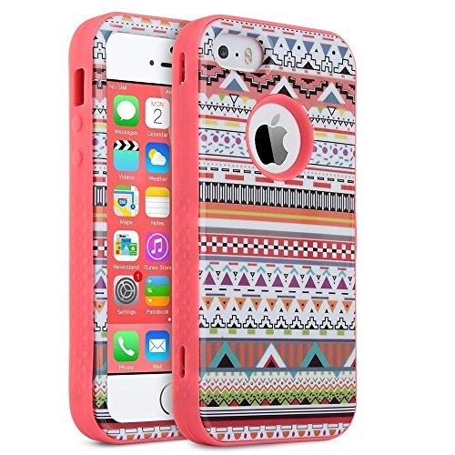 ULAK - Cover per iPhone SE Case - Custodia ibrida a protezione integrale con parte esterna in 3 strati di morbido silicone e interno rigido per Apple iPhone 5/5S, iPhone SE - proteggischermo trasparente (Tribal + Coral Pink)