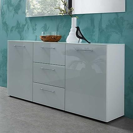 Wohnzimmer Sideboard in Weiß Glas beschichtet 145 cm breit Pharao24