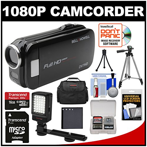 Bell & Howell Slice2 Dv7Hd 1080P Hd Slim Video Camera Camcorder (Black) With 16Gb Card + Battery + Case + Tripods + Led Light + Kit
