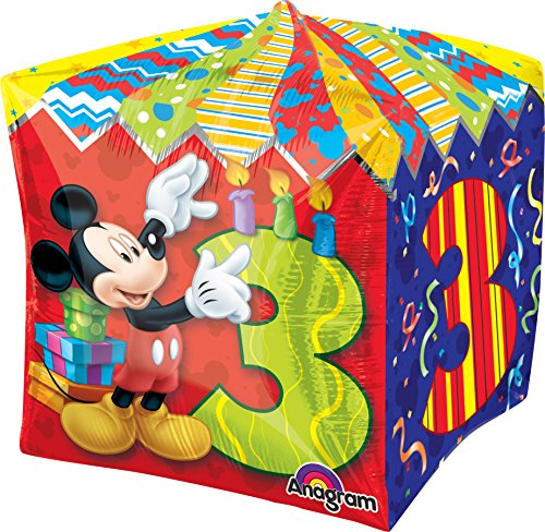 "Anagram International Mickey Age 3 Cubez Balloon Pack, 15"", Multicolor"