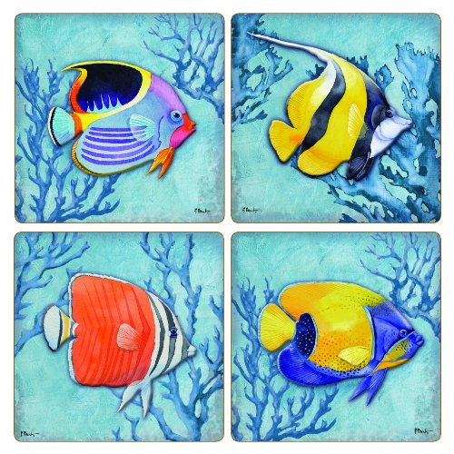CoasterStone AS10022 Absorbent Coasters, 4-1/4-Inch, Azure Tropical Fish, Set of 4