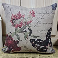 LINKWELL 45*45cm Vintage Black Butterfly in Flower Linen Cotton Cushion Cover Pillow Case by Linkwell Home Decor