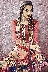 Like a diva JINAAM Peach Cotton Party Wear Salwar Kameez / Churidar Dress material
