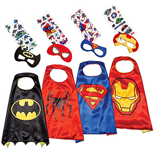 LAEGENDARY Superhero Costumes for Kids - 4 Capes and Masks - Glow Spiderman Logo (Gifts For 3 Year Olds compare prices)