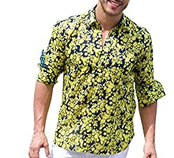 Pudu Men Navy Flowers Regular Fit Casusal Shirt_100004_Navy Flowers