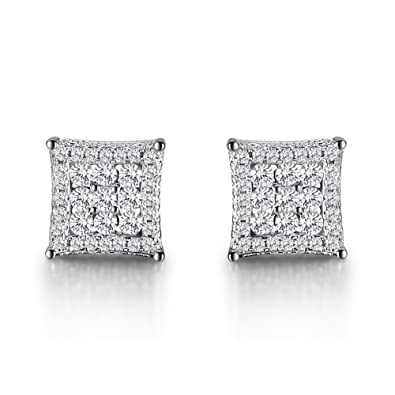 Caperci Women's Square Pave Cubic Zirconia Sterling Silver Earrings Studs (7MM)