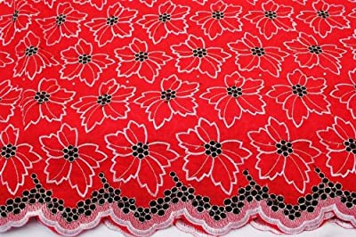 Red, Floral Voile Design Blended Cotton Embroidery African Lace Fabric in 10 Color