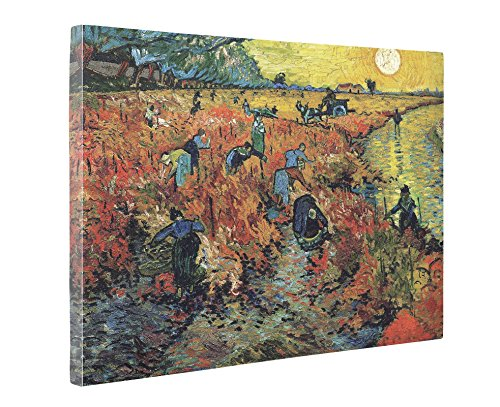 Niwo Art (TM) - The Red Vineyard, by Vincent van Gogh - Oil painting Reproductions - Giclee Canvas Prints Wall Art for Home Decor, Stretched and Framed Ready to Hang (20 x 24 x 1.5 Inch)