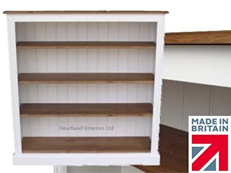 100% Solid Wood Bookcase, 4ft x 4ft White Painted & Waxed Contrasting Adjustable Shelving Unit, Bookshelves. No flat packs, No assembly (BK44ED)