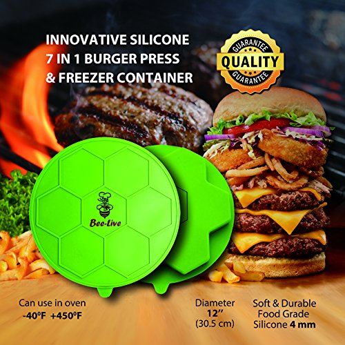 Silicone Burger Press By Bee Live 7 In 1 Hamburger Patty Mold For