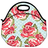 Snoogg Beautiful Seamless Rose Pattern With Blue Polka Dot Background Travel Outdoor Carry Lunch Bag Picnic Tote...